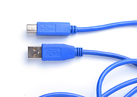 usb various: USB connector against white background Stock Photo