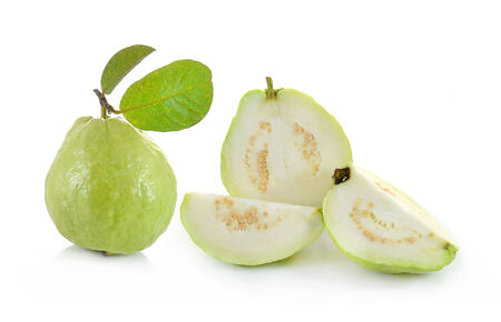guava fruit: Guava (tropical fruit) on white background