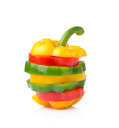 bell peper: red, green and yellow sliced pepper isolated on white background Stock Photo