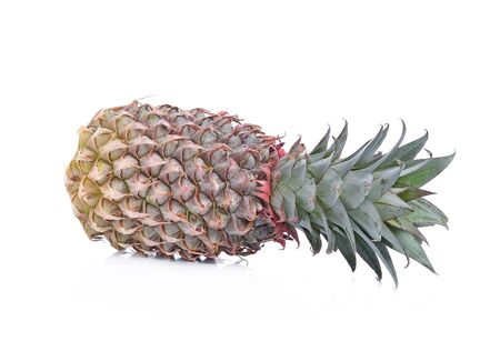 close up food: ripe pineapple isolated on white background