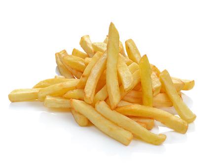 Aardappelen friet op wit wordt geïsoleerd Stockfoto