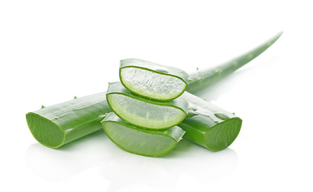 aloe vera fresh leaf. isolated over white Фото со стока
