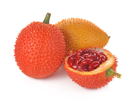 Gac fruit, Baby Jackfruit, Spiny Bitter Gourd, Sweet Grourd or Cochinchin Gourd on white background