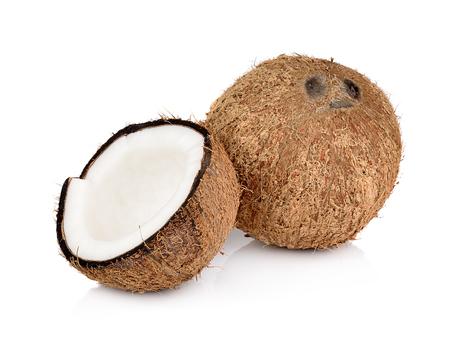 copra: coconut on white background