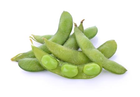 soybean: green soybeans on white background Stock Photo