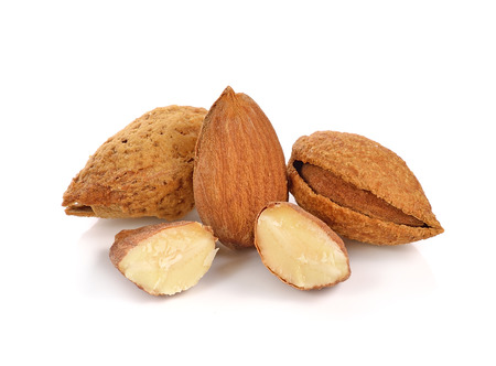 almond: almond nuts on white background