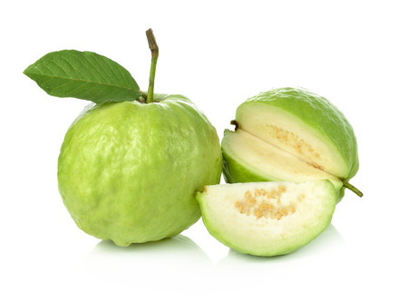 guava fruit: Guava on white background Stock Photo