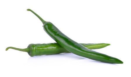 isolated on green: green chili on white background