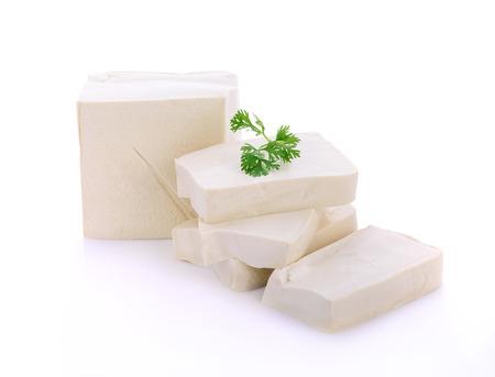cube tofu isolated on white