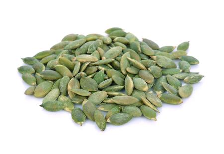 Pumpkin seeds on white background Stock Photo