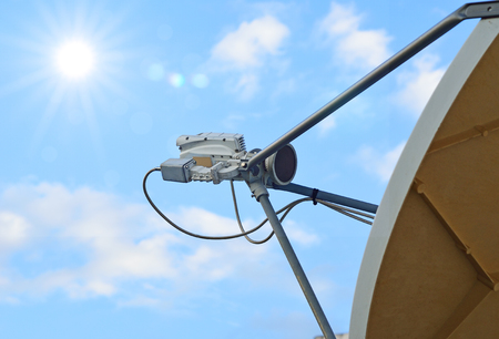 part of satellite dish with sky background