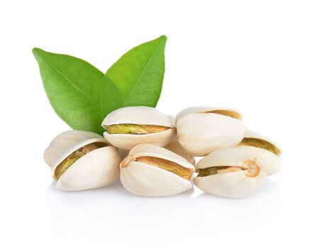 Pistachio nuts. Isolated on a white backgroun 版權商用圖片