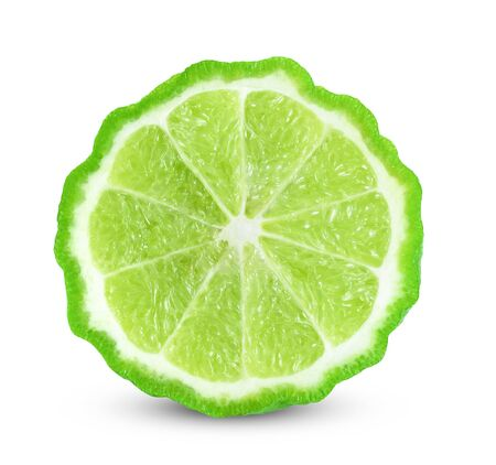 kaffir lime on white background