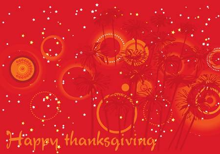 Happy thanksgiving illustration with stars on orange and red happy holidays background Stock Illustration - 3735654