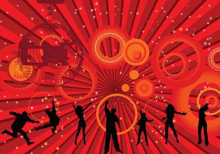 Lets disco illustration on orange and red background Stock Illustration - 3735594