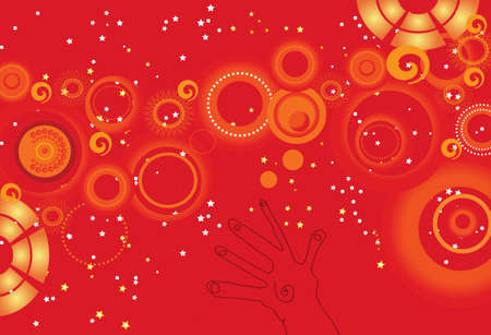 Reach out for the stars illustration on orange and red background Stock Illustration - 3735748