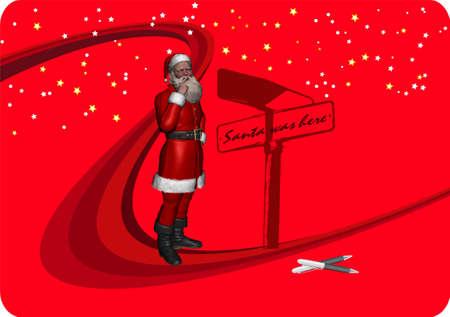 Santa Claus Christmas design illustration on dark red background - 300 illustration