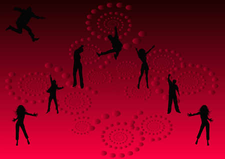 tonight: lets have fun tonight party illustration on red and black background Stock Photo