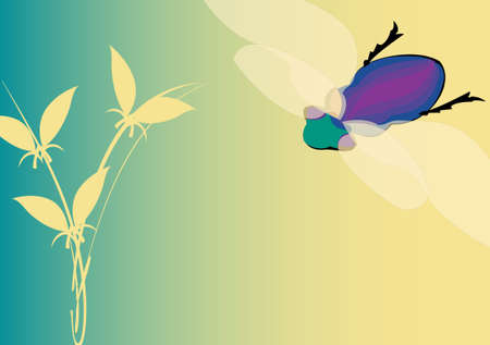 changing seasons illustration with colorful fly and plant on turquoise background Stock Illustration - 3897549