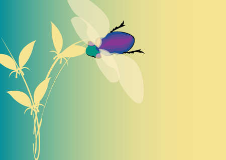changing seasons: changing seasons illustration with colorful fly and plant on turquoise background Stock Photo