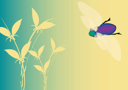 changing seasons illustration with colorful fly and plant on turquoise background Stock Illustration - 3897550