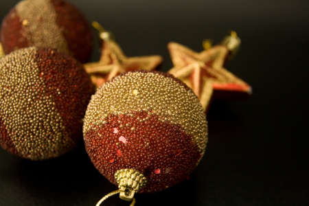 red and gold christmas ornaments on black background stock photo 4001264 - Black And Gold Christmas Ornaments