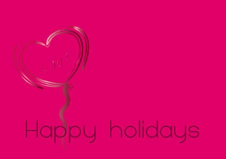 happy holidays heart illustration on colourful background Stock Illustration - 4016637