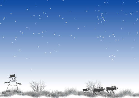 incrustation: North Pole Christmas illustration with stars and snow on blue background