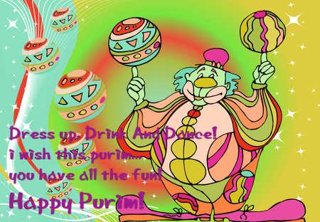 Clown illustration for Purim celebration on colorful background illustration