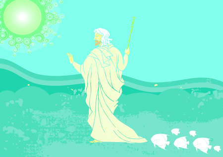 seder: The Exodus 2009 style Passover illustration on abstract background Stock Photo