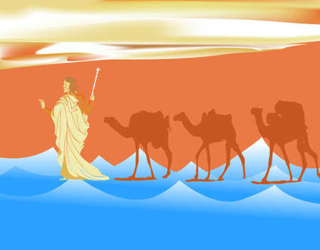 pesach: The Exodus 2009 style Passover illustration on abstract background Stock Photo