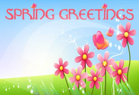 flourishing: Spring greetings colorful illustration on abstract nature background