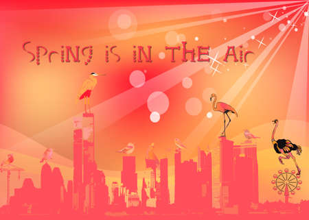 Spring greetings colorful illustration on abstract nature background illustration