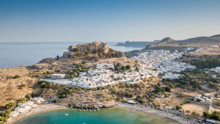Aerial View of historic Village Lindos on Rhodes Greece Island including Acropolis on Rock