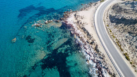 Aerial View: Drone video of beaches in Rhodes Mandriko, Rodos island, Aegean, Greece