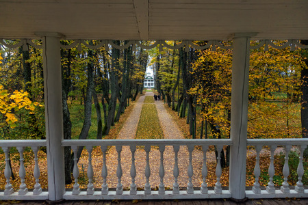 pushkin: Autumn park in an old Russian manor house. View of the avenue from the high terrace. Stock Photo