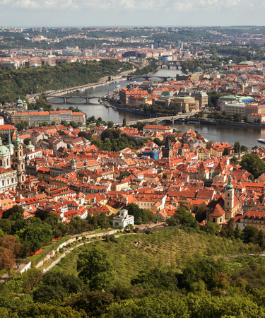 View of the city of Prague from the hill Petrshin. There are tiled roofs and the river Vlatva Фото со стока