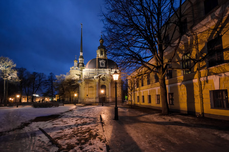 The Grand Ducal Burial Chapel in the Peter and Paul Fortress. St. Petersburg. Russia. Winter evening. Фото со стока