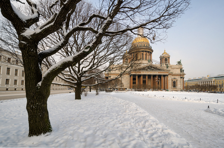 View from the park at St. Isaacs Cathedral on a winter day. St. Petersburg. Russia. In the foreground there are trees. Landscape.