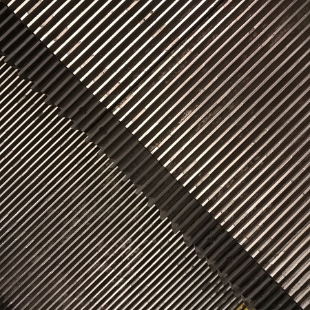 Top view of the metal steps of the escalator. Frame texture with diagonal. Texture. Background. Stockfoto