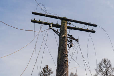 Old tilted electric pole. The wires are cut and loose. There is a blue sky and tree crowns. Background.