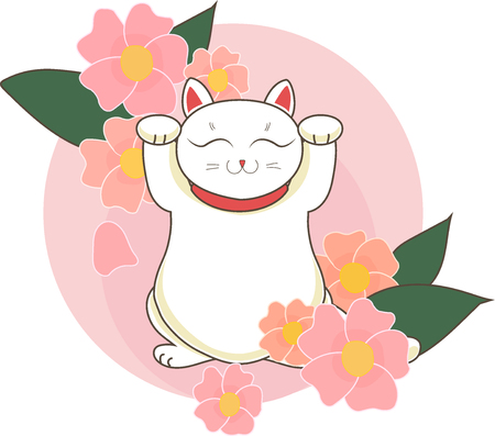 Maneki neko  neco ewith of japan cherry (sacura) blossoms and flowers , a cat with a raised paw Japanese luck symbol, vector illustration Illustration
