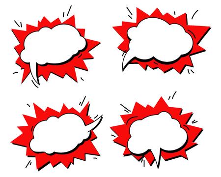 Effetti sonori di testo comico. La frase di discorso dell'icona della bolla di vettore, espressione dell'etichetta dell'etichetta esclusiva del carattere del fumetto, suona l'illustrazione. Insieme di vettore del fumetto del libro dei fumetti. Wow!