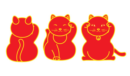 Red Maneki neko  neco set, a cat with a raised paw Japanese luck symbol, vector illustration, with coin, fish