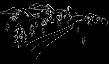 Drawn mountains vector landscape with road
