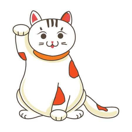 neko: Maneki neko  neco , a cat with a raised paw Japanese luck symbol, vector illustration, Illustration