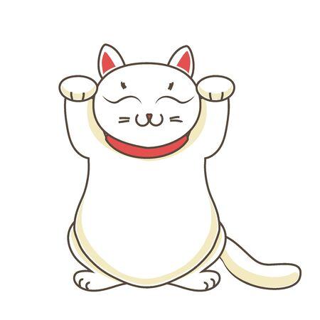 neko: Maneki neko neco , a cat with a raised paw Japanese luck symbol, vector illustration Stock Photo
