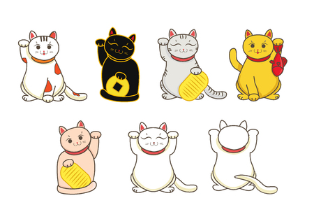 Different Maneki neko neco set, a cat with a raised paw Japanese luck symbol, illustration, with coin Stock Photo