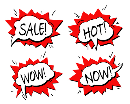 Comic text sound effects. Vector bubble icon speech phrase, cartoon exclusive font label tag expression, sounds illustration. Comics book balloon vector set. Wow! Sale! Hot! Now!