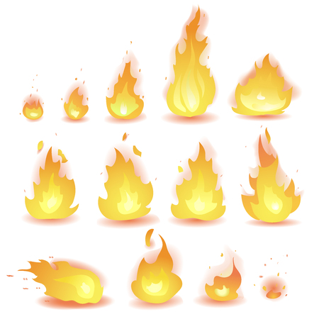 Big Vector set of different stages of fire - a small fire with sparks, blazing bright fire, dying fire, smoke. Video game, mobile application, isolated on white